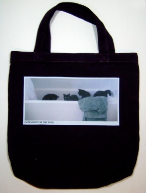 photo of black tote back with photo of black cats