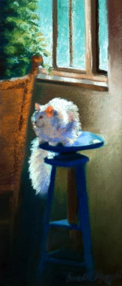 white cat on blue stool