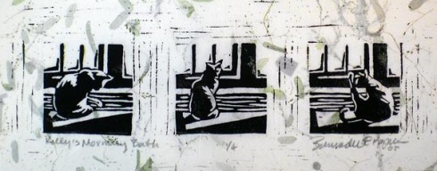 block print on green background