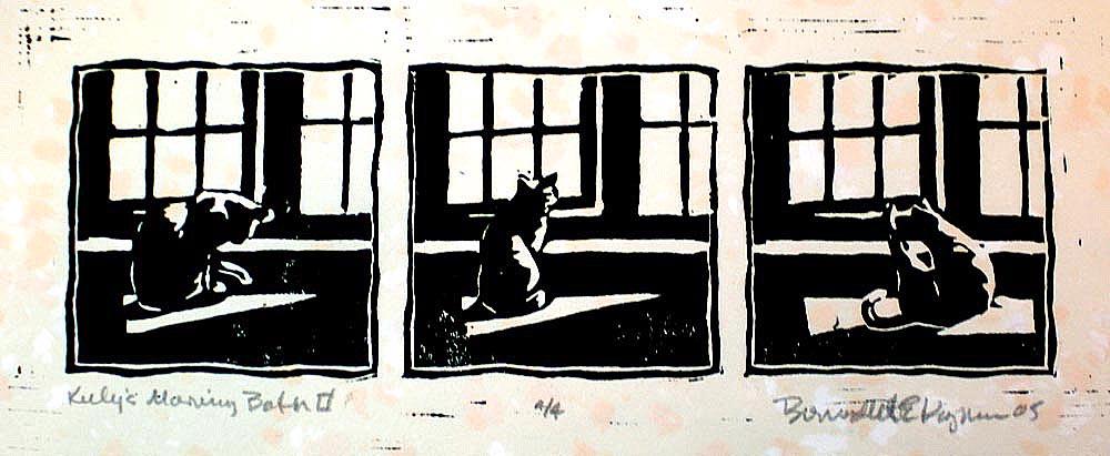block print of cat in front of window