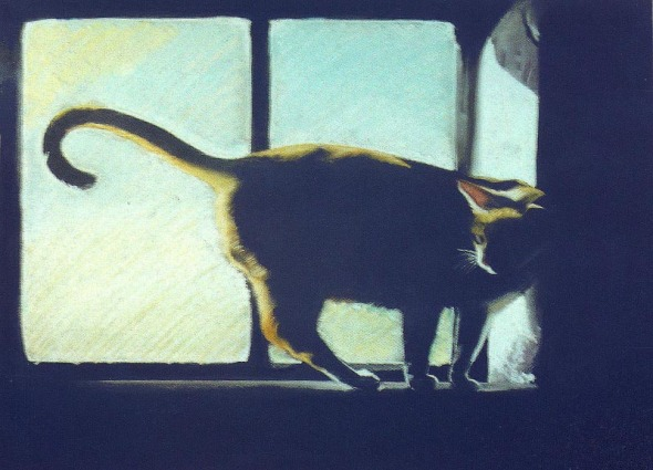 pastel painting of cat on windowsill