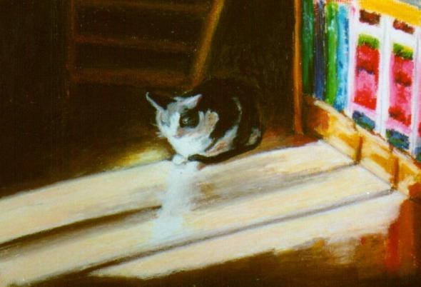 painting of cat in sun