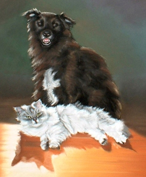 painting of a dog and cat