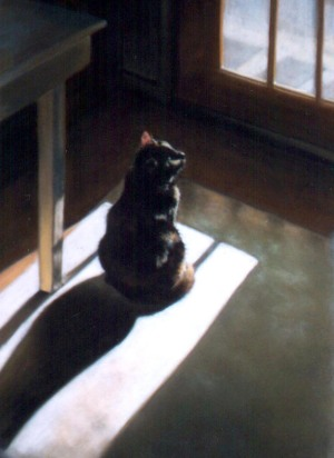 pastel painting of cat looking out sunny door