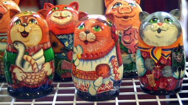 painted wooden matryoshka kitties
