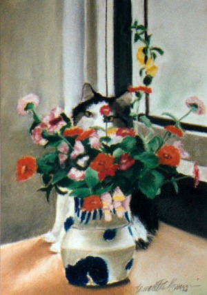 pastel painting of cat with flowers