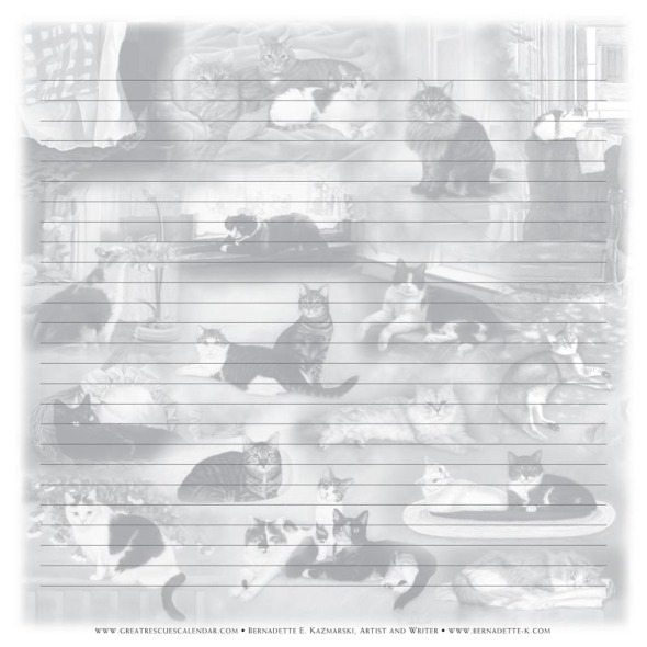 collage of cats on notepaper