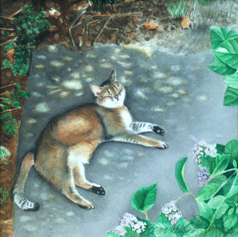 painting of cat outdoors