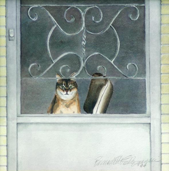 painting of cat at door