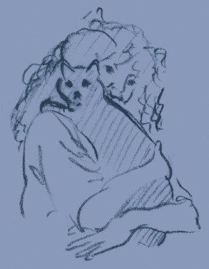 sketch of woman holding a cat