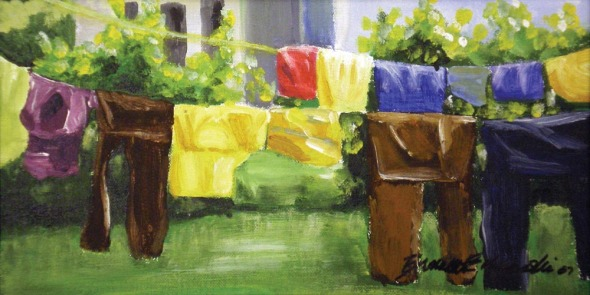 painting of laundry on line