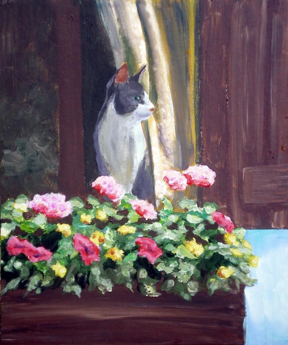 painting of cat with flowers