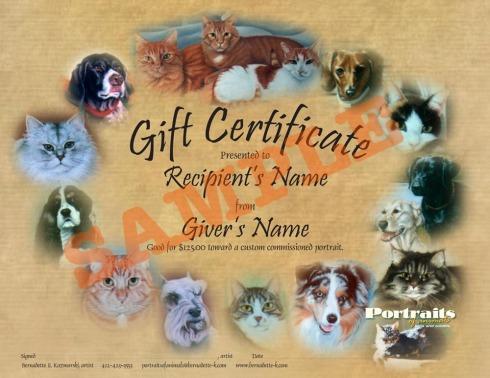 sample portrait certificate