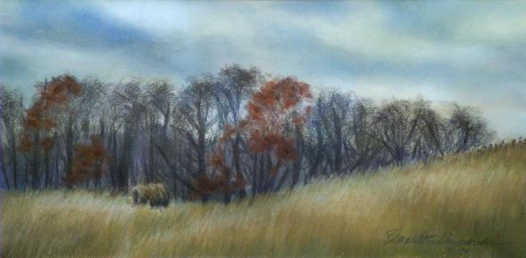 pastel painting of farm landscape