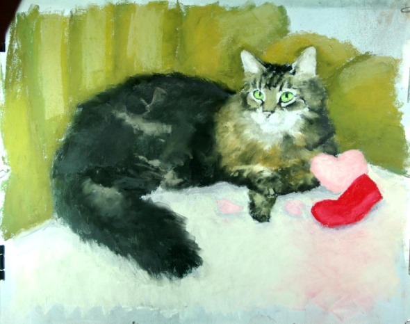 pastel portrait of cat