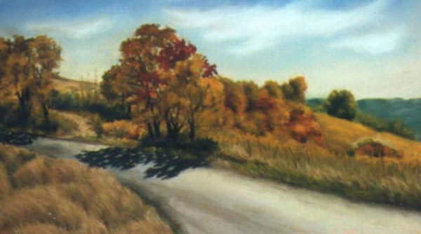 pastel painting of autumn road