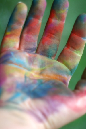 my hand with pastels