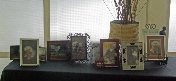 table with photos