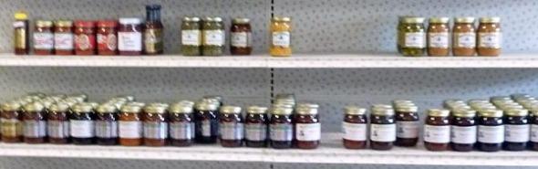 shelves of preserves