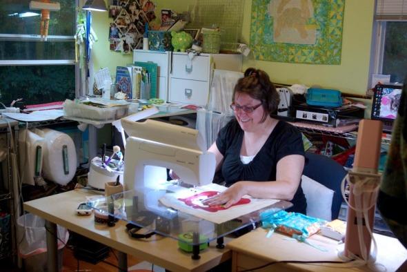 Missy at her machine