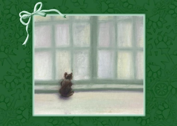 painting of cat at window