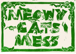 meowy cats mess in green