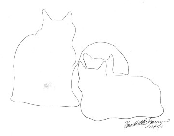 line drawing of three cats