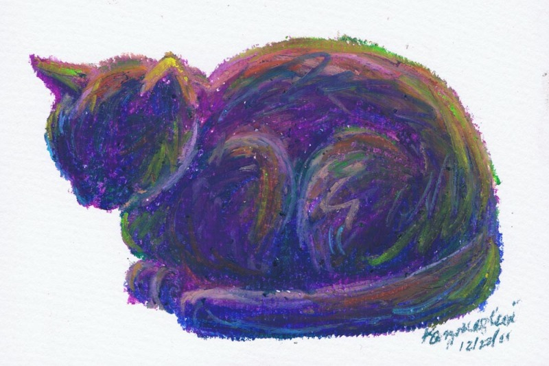 oil pastel sketch of cat
