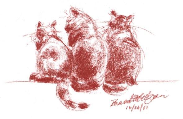 conte sketch of three cats