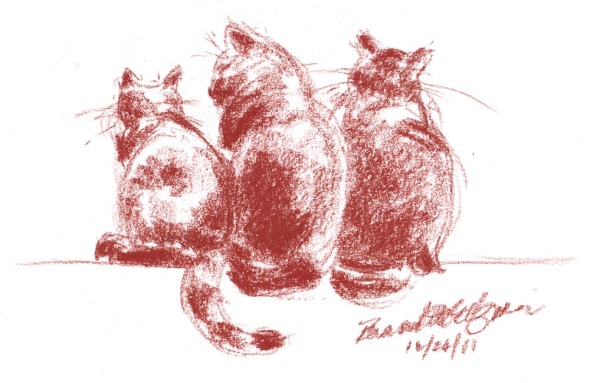 conte sketch of three cats