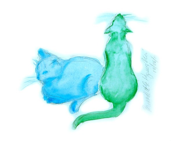 watercolor of two cats