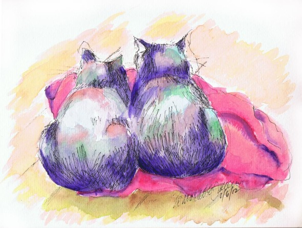 watercolor of two cats on blanket