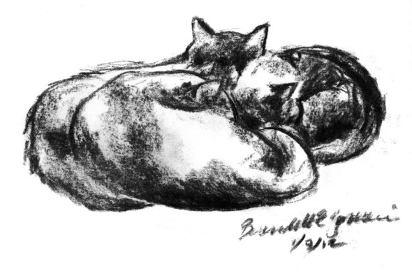 charcoal sketch of three black cats