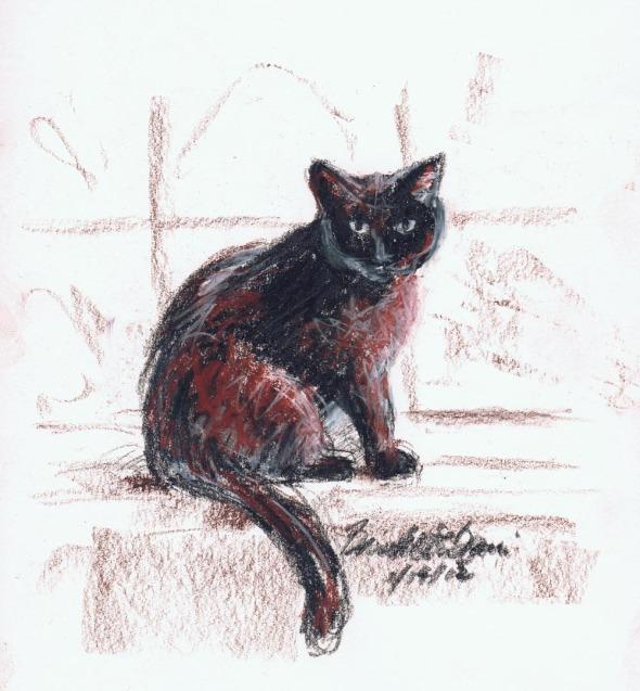 sketch of black cat on windowsill