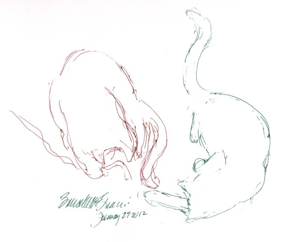 ink sketch of cats playing