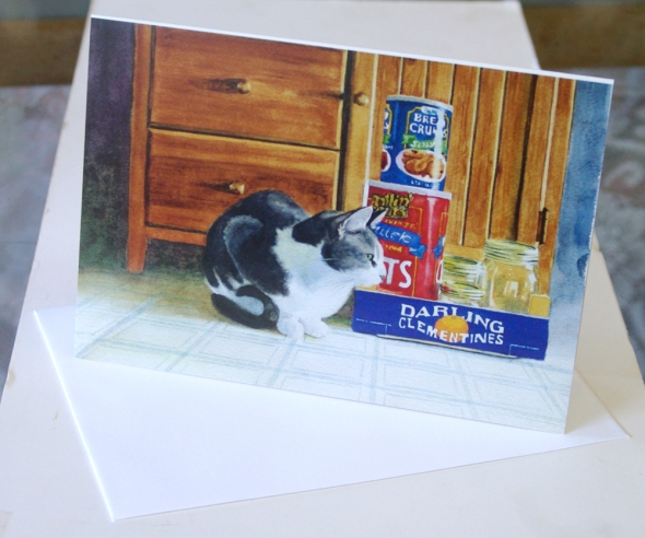 sample feline art card