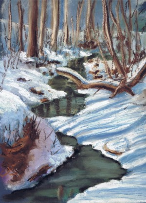 pastel painting of stream in snow