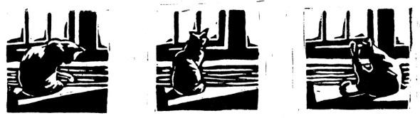 linoleum block print of cat bathing