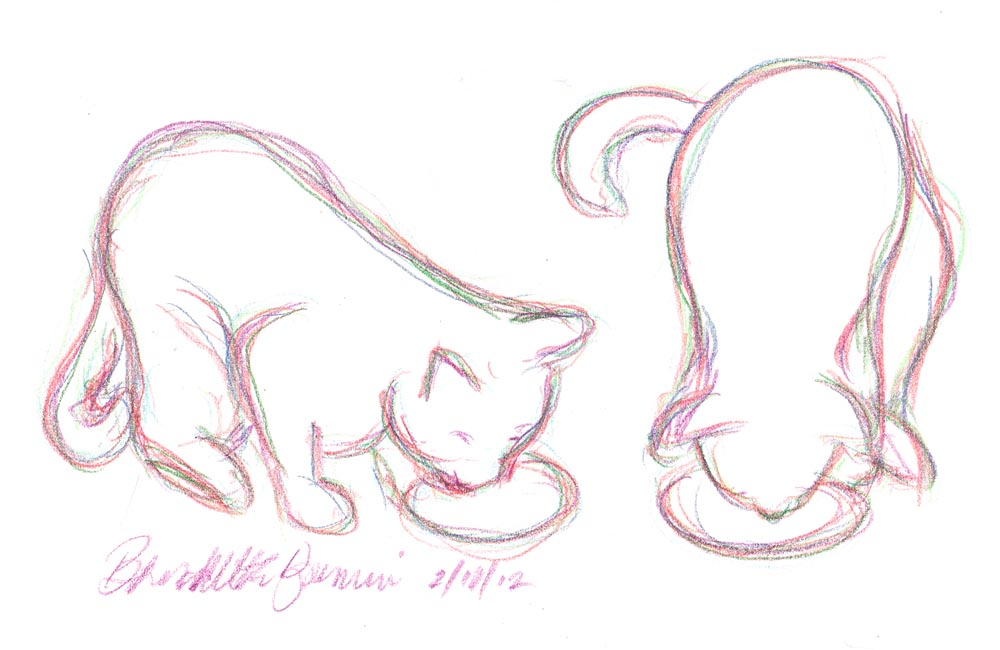 colorec pencil sketch of two cats at dinner
