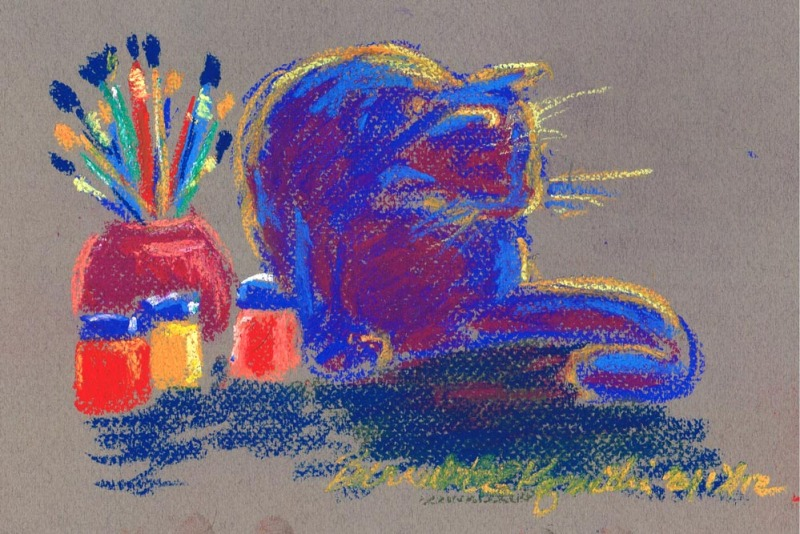 pastel painting of cat with brushes and paints