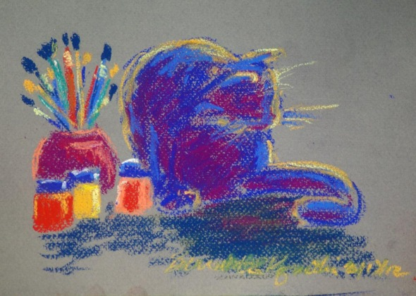 pastel sketch of cat and art materials