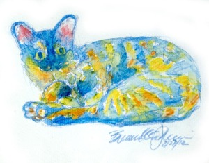 watercolor of tortoiseshell cat