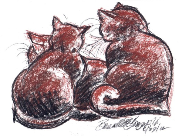 conte sketch of three cats cuddling