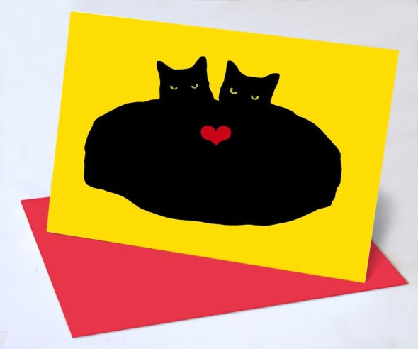 two black cats with one heart