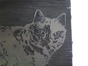 closeup of linoleum block
