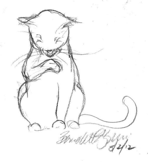 pencil sketch of cat bathing