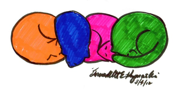 four colored cat shapes
