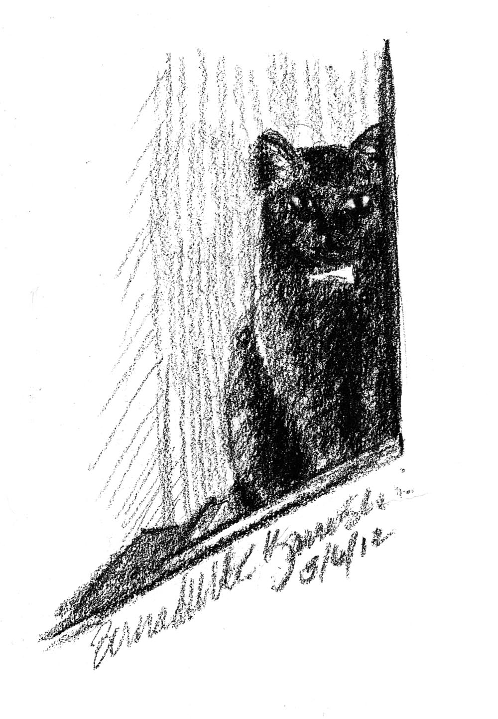 charcoal sketch of cat sitting on steps