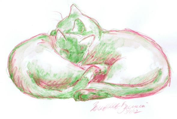 two cats cuddling in red and green watercolor