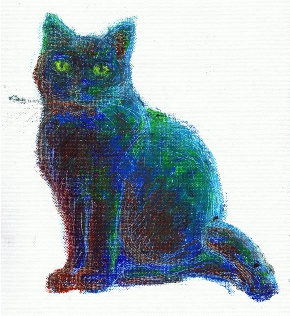 oil pastel drawing of cat